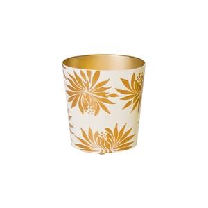 Oval Wastebasket with Cream and Orange Dalhai