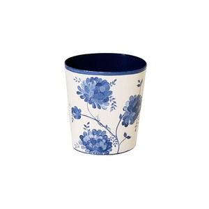 Oval Wastebasket Blue and White