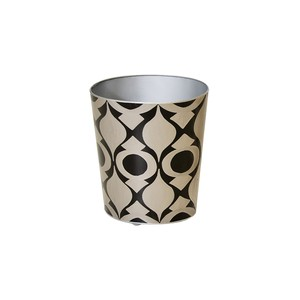 Oval Wastebasket Silver and Black