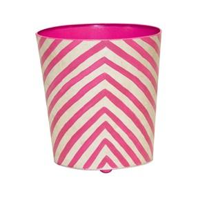 Zebra Print Wastebasket Pink and Cream | Worlds Away