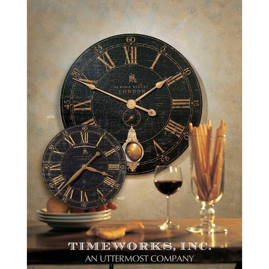 "Bond Street 30"" Black Wall Clock | The Uttermost Company"