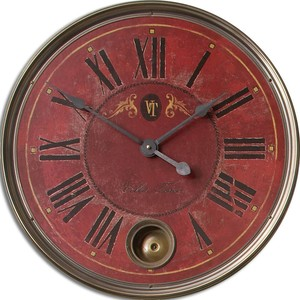 "Regency Villa Tesio 23"" Red Wall Clock 