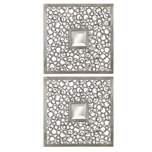 Colusa Squares Silver Mirror - Set of Two | The Uttermost Company