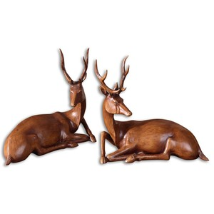 Buck Wood Tone Statues