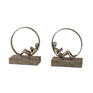 Lounging Reader Antique Bookends