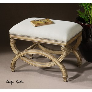 Karline Natural Linen Small Bench | The Uttermost Company