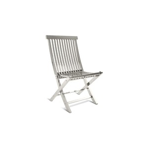 Slatted Folding Chair in Stainless Steel