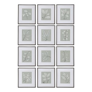 Leaves On Taupe Art-Set of Twelve