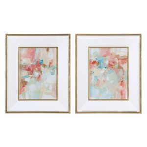 Touch of Blush and Rosewood Fences Art-Set of Two