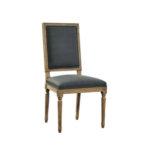 Gray Linen and Oak Side Chair