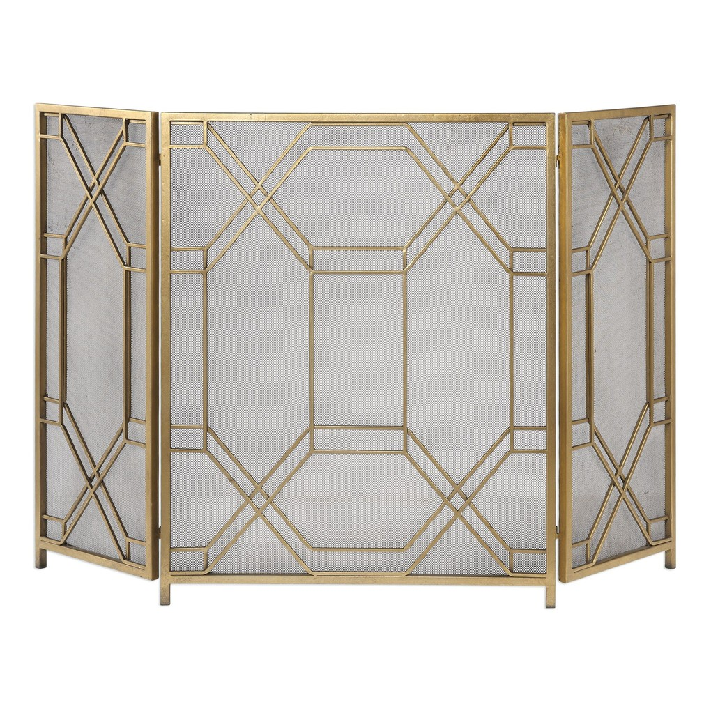 Rosen Gold Fireplace Screen | The Uttermost Company