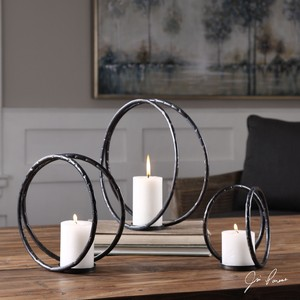 Pina Curved Metal Candle Holders - Set of Three | The Uttermost Company