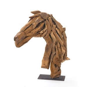 Wood Horse Head on Iron Stand | Park & Main