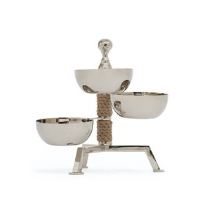 Spinning Three Part Dish on Rope Stand