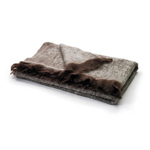 Brown and Beige Mohair Throw