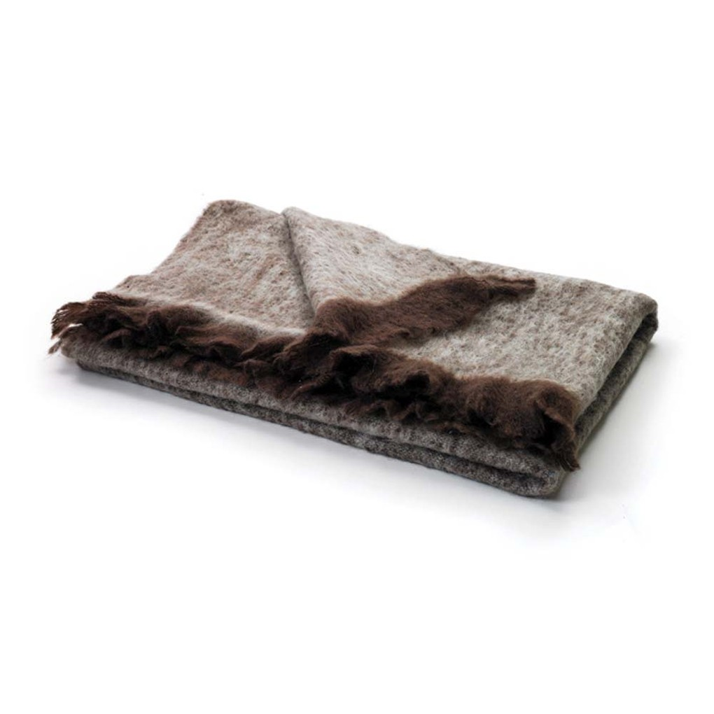 Brown and Beige Mohair Throw | Park & Main