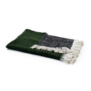 Grey Reverse Mohair Throw
