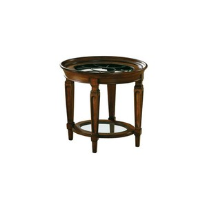 Round Lamp Table with Glass Inserts