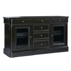Entertainment Console with Drawers and Glass Doors