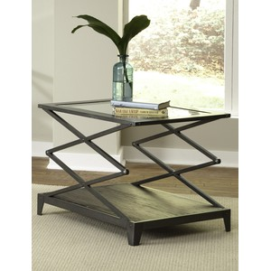 Industrial Wire Brushed End Table
