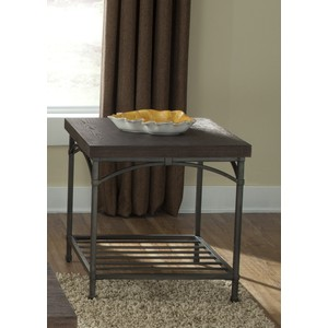 Rustic Metal End Table with Storage Shelf | Liberty Furniture