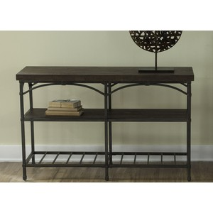 Rustic Metal Sofa Table with Storage Shelves | Liberty Furniture