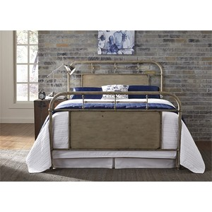 Queen Metal Bed in Vintage White | Liberty Furniture
