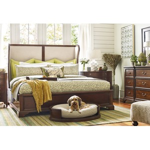 Rachael Ray Queen Upholstered Shelter Bed