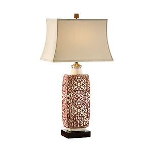 Embroidered Bottle Lamp in Red | Wildwood Lamp