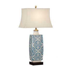 Embroidered Bottle Lamp in Blue | Wildwood Lamp