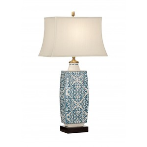 Embroidered Bottle Lamp in Blue