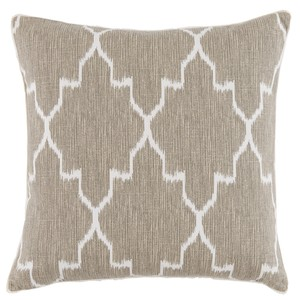 Tan/White Linen Throw Pillow