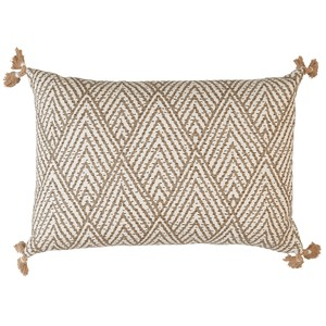 Tan and White Corner Tassel Chevron Pillow