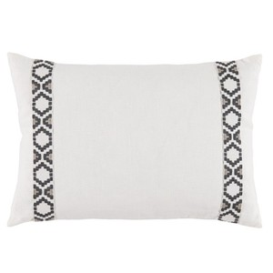 White Oyster Side Border Lumbar Pillow