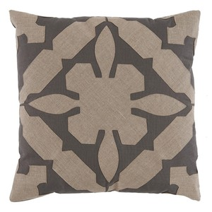 Tan Grey Applique Linen Pillow