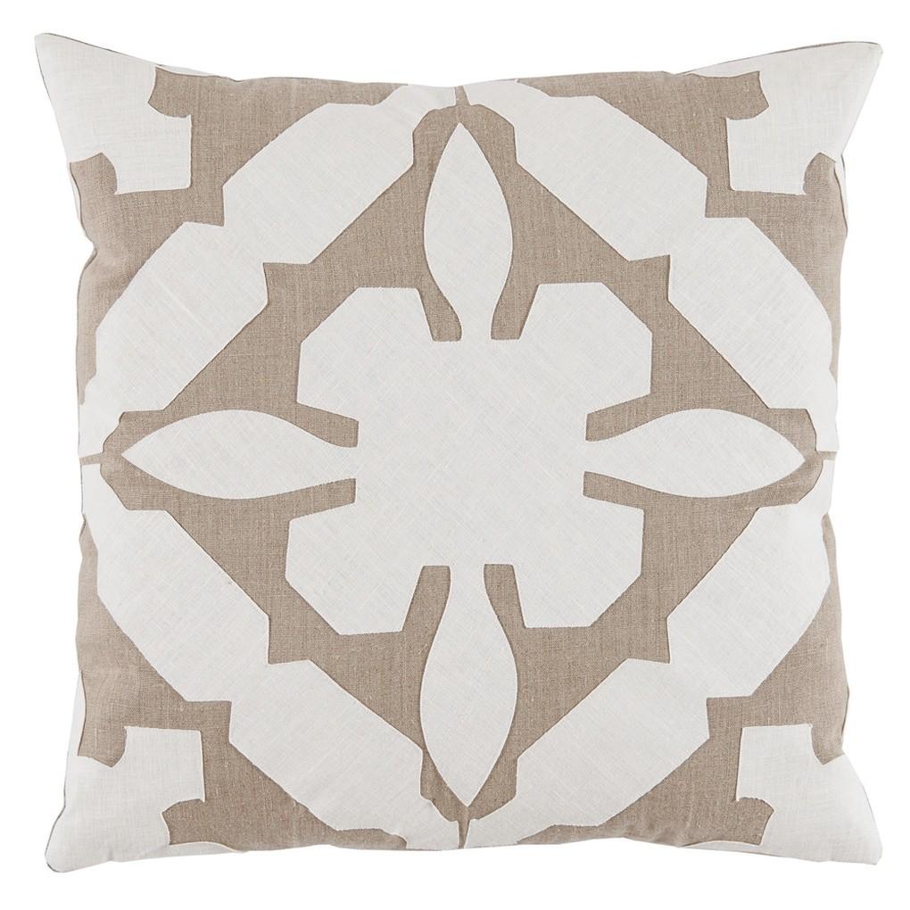 Cream TanApplique Linen Pillow | Lacefield Designs