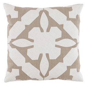 Cream Tan Applique Linen Pillow