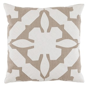 Cream Tan Applique Linen Pillow | Lacefield Designs