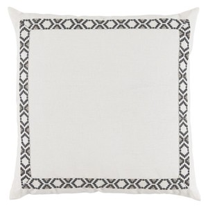 White Oyster Linen Border Throw Pillow