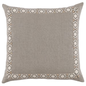 Grey Natural Linen Border Throw Pillow