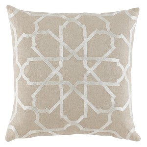Neutral Embroidered Throw Pillow