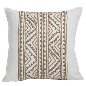White Hemp Embroidered Throw Pillow