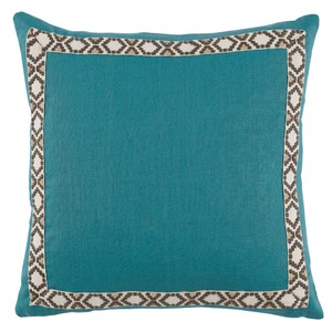 Solid Teal Border Throw Pillow