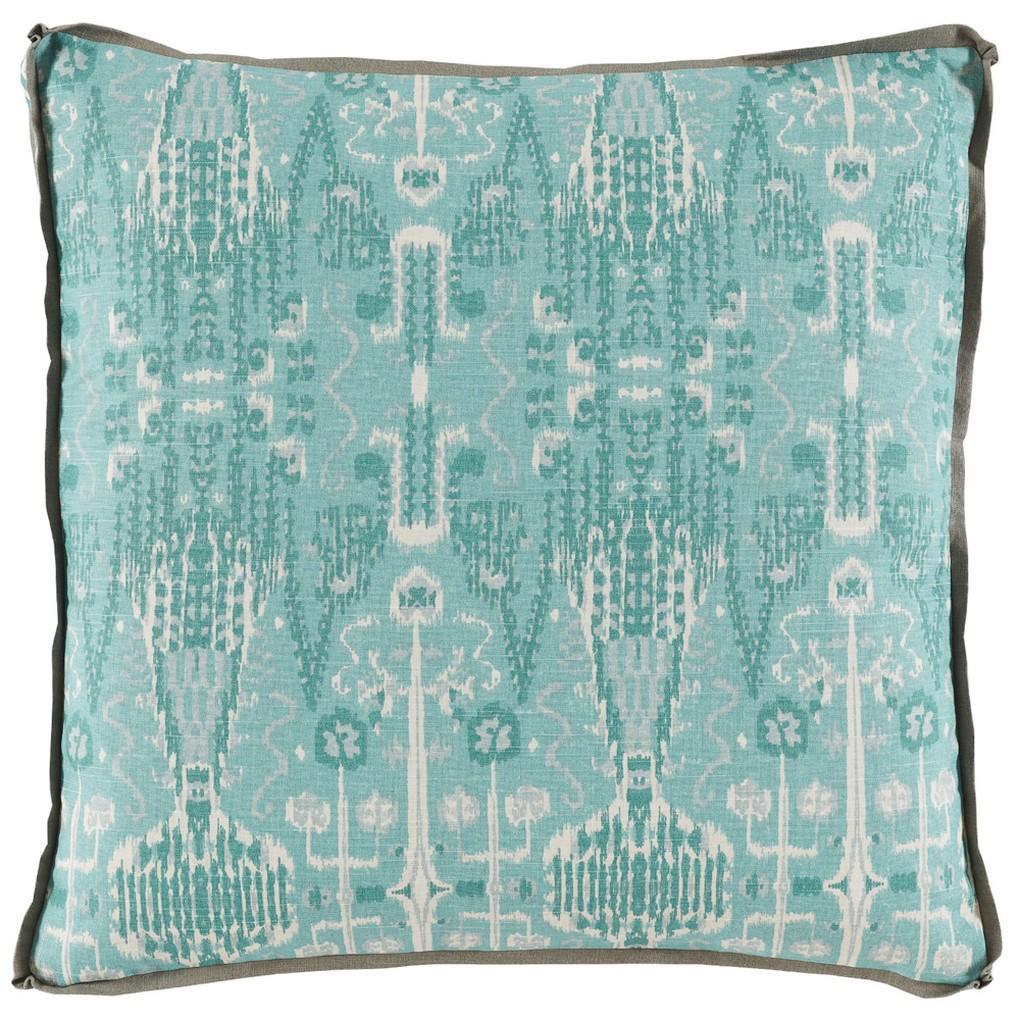 Aqua Ikat Bombay Mist Pillow | Lacefield Designs