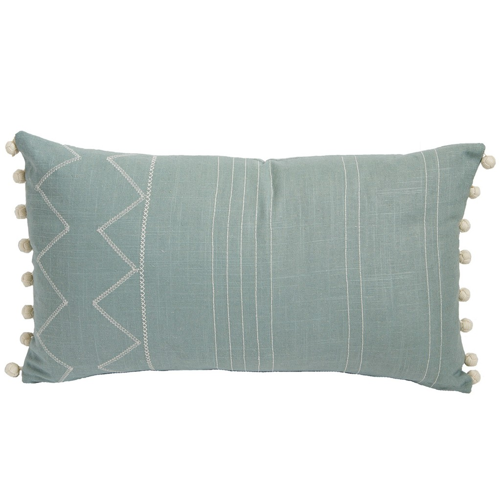 Side Pom Pom Embroidered Lumbar Pillow | Lacefield Designs