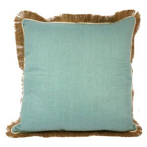 Aqua Fringe Linen Pillow