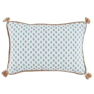 Dot Print Lumbar Tassel Pillow