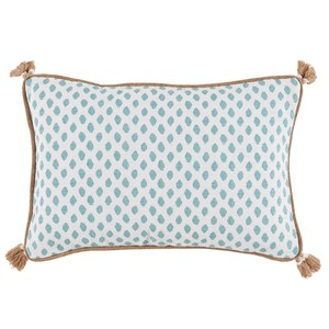 Dot Print Lumbar Tassel Pillow