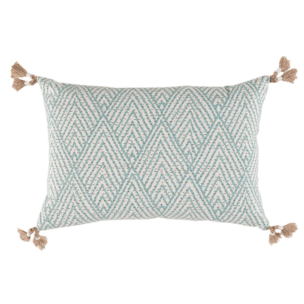 Blue Corner Tassel Chevron Pillow | Lacefield Designs