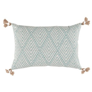 Blue Corner Tassel Chevron Pillow